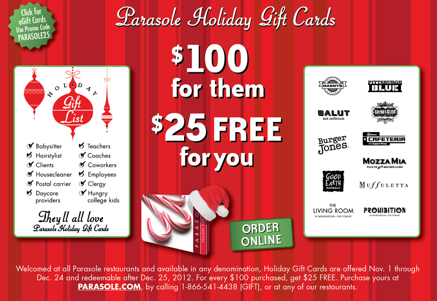 Parasole Holiday Gift Card Checklist - $100 for them $25 FREE for you