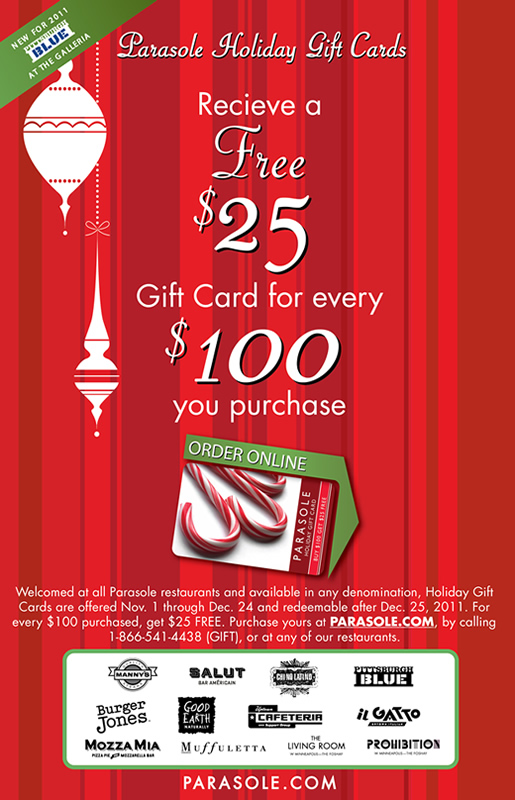 Parasole Holiday Gift Cards - Buy $100 get $25 FREE